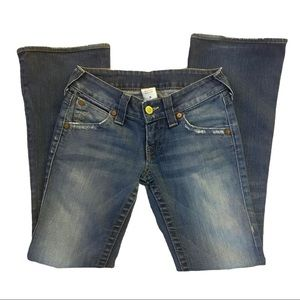 True Religion Distressed Bootcut Blue Jeans